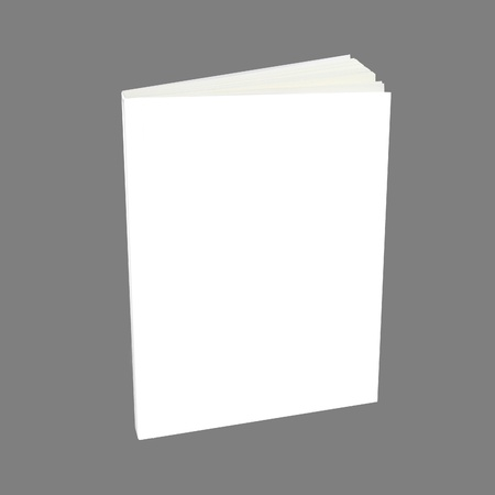 Blank book with white cover on white background. photo