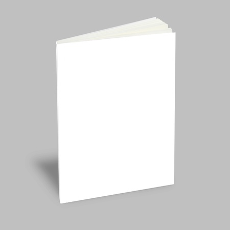 book cover: Blank book with white cover on gray background.