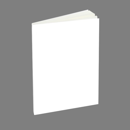 Blank book with white cover on gray background. photo