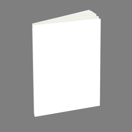 paperback: Libro bianco con copertina bianca su sfondo grigio. Archivio Fotografico