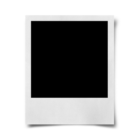 black picture frame: Blank photo isolated on white