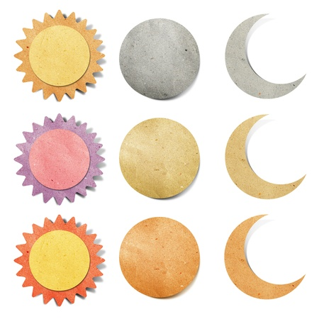 sun and moon tag recycled paper craft stick on white background photo