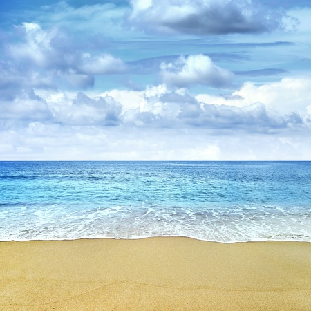 Tropical beach sea  and blue sky photo