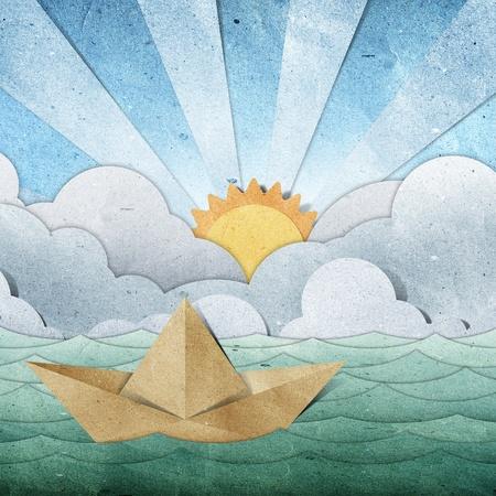 mare agitato: barca di carta origami riciclati carta artigianale bastone su sfondo bianco Archivio Fotografico
