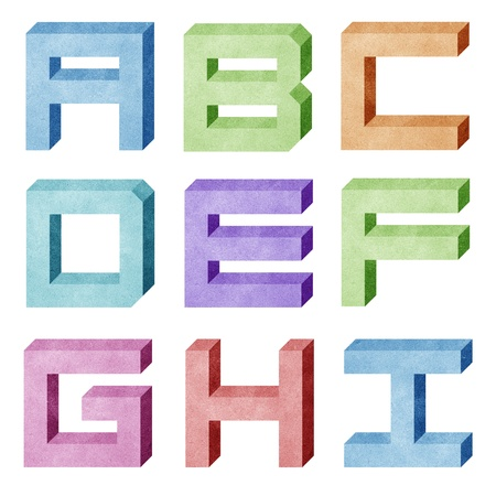 craft material: alphabet paper box 3D recycled paper craft