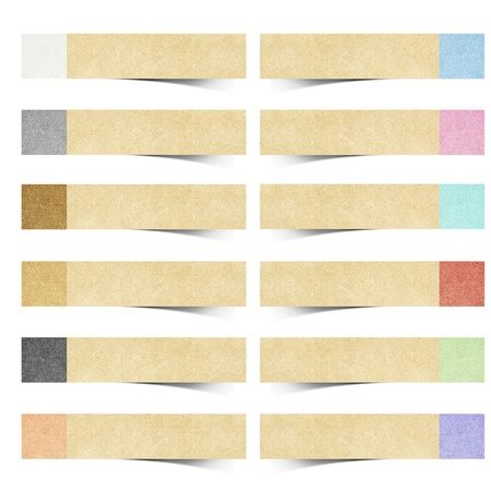 taped: color pad recycled paper stick on white background
