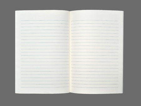 Blank notebook on gray  background. Stock Photo - 10090113