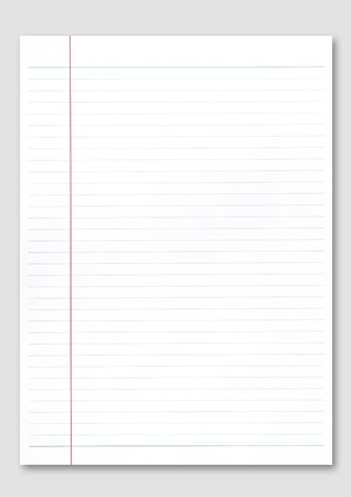 ruled paper: Notebook paper on white background.