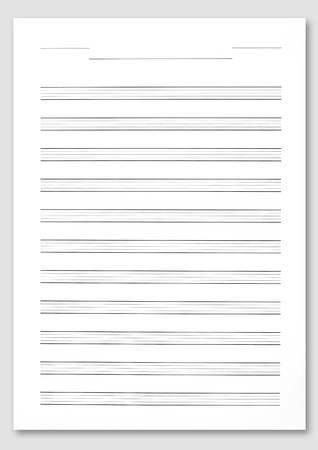 orchestration: Music score paper on white background.