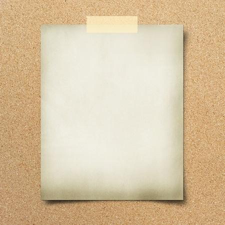 cork board: note paper  on cork board background Stock Photo