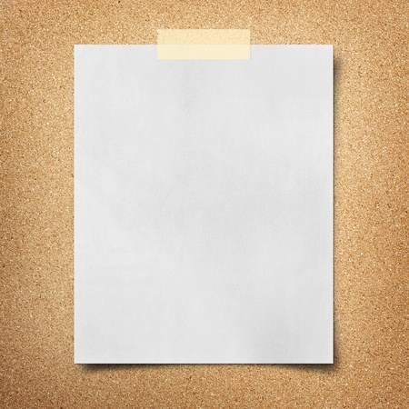 cork sheet: note paper  on cork board background Stock Photo