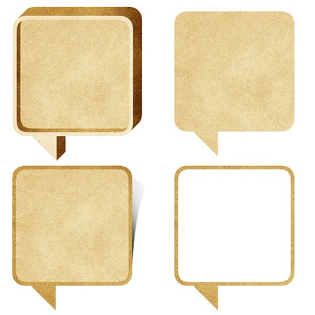 recycled paper: bubble talk tag recycled paper craft stick on white background Stock Photo
