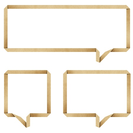 memo: bubble talk origami recycled paper craft stick on white background Stock Photo