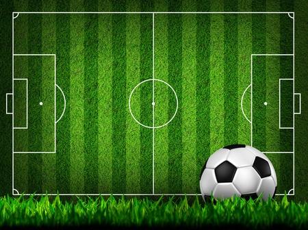 voetbal op gras veld Stockfoto