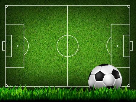 terrain foot: football soccer sur le terrain en herbe Banque d'images