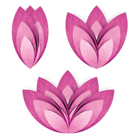 Flower origami  recycled paper craft stick on white background Stock Photo - 10136795