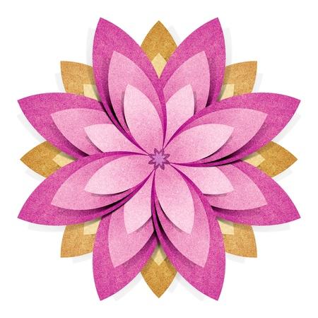 papel reciclado: Flor origami reciclada papel artesanal palo sobre fondo blanco Foto de archivo