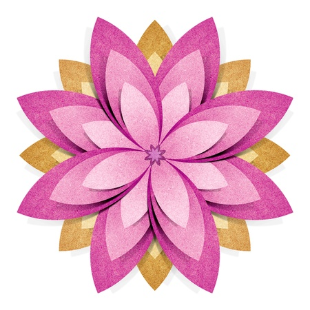 Flower origami recycled paper craft stick on white background photo