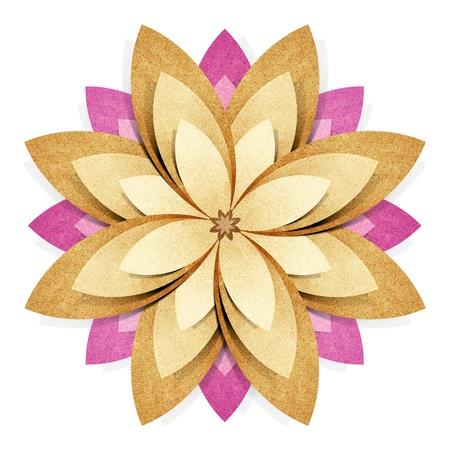 paper craft: Flor origami reciclada papel artesanal palo sobre fondo blanco Foto de archivo