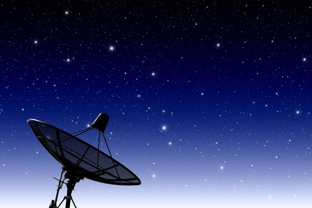 telecast: satellite disc against twilight sky
