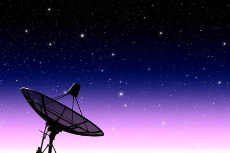 satellite disc against twilight sky Stock Photo - 10196703