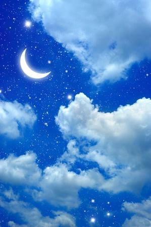 luna caricatura: Luna y estrella en el cielo nocturno