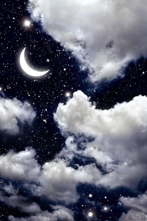 moon and star in The night sky photo