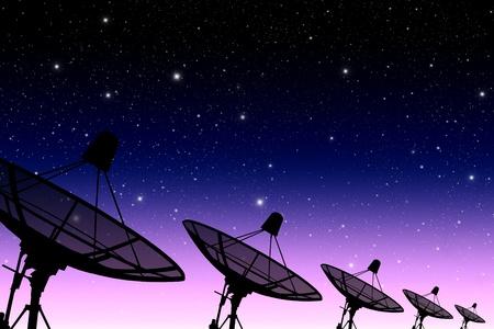 satellite in space: satellite disc against twilight sky