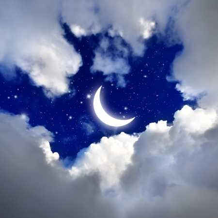 moon  light: moon and star in The night sky