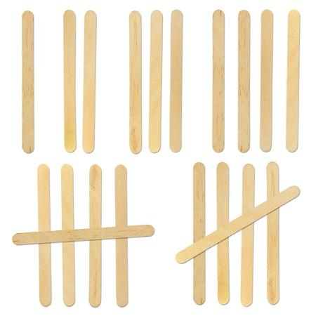 helados con palito: madera de palo de helado sobre fondo blanco