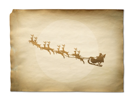 Santa Claus On Sledge With Deer And white Moon on old paper background photo