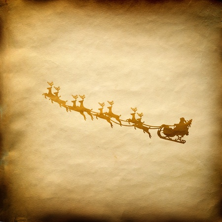 sprightly: Santa Claus On Sledge With Deer on old paper background Stock Photo