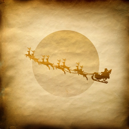 sprightly: Santa Claus On Sledge With Deer And white Moon on old paper background Stock Photo