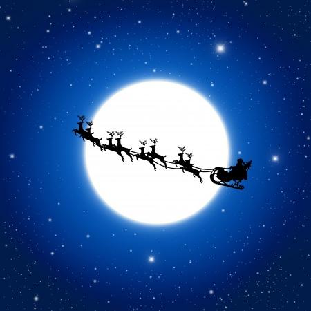 reindeer: Babbo Natale su slitta con cervi E Bianco Luna, illustrazione