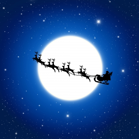 trineo: Papá Noel en trineo con ciervos y blanco Luna, ilustración