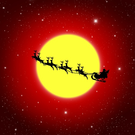 sprightly: Santa Claus On Sledge With Deer And white Moon, Illustration