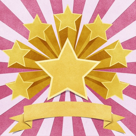 announced: star recycled paper stick on white background