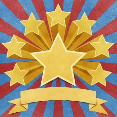 triunfador: estrella de papel reciclado stick sobre fondo blanco