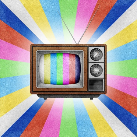 Television ( TV ) icon recycled paper stick on grunge retro screen color background Stock Photo - 10275401