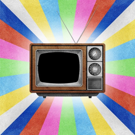 Television ( TV ) icon recycled paper stick on grunge retro screen color background  Stock Photo - 10275378