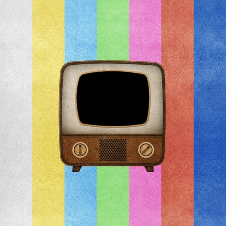 Television ( TV ) icon recycled paper stick on grunge retro screen color background  Stock Photo - 10275383