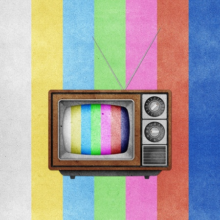 Television ( TV ) icon recycled paper stick on grunge retro screen color background Stock Photo - 10275404