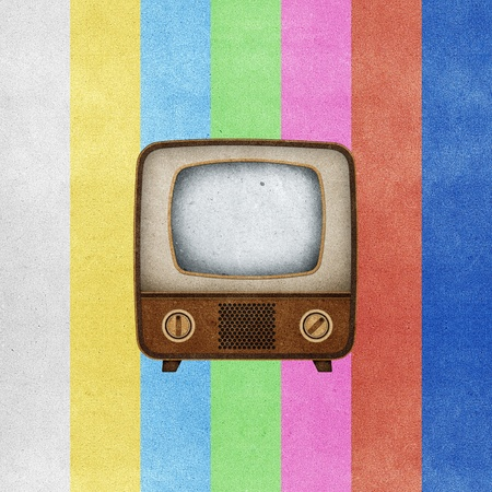 Television ( TV ) icon recycled paper stick on grunge retro screen color background Stock Photo - 10275403