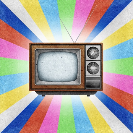 Television ( TV ) icon recycled paper stick on grunge retro screen color background  Stock Photo - 10275385