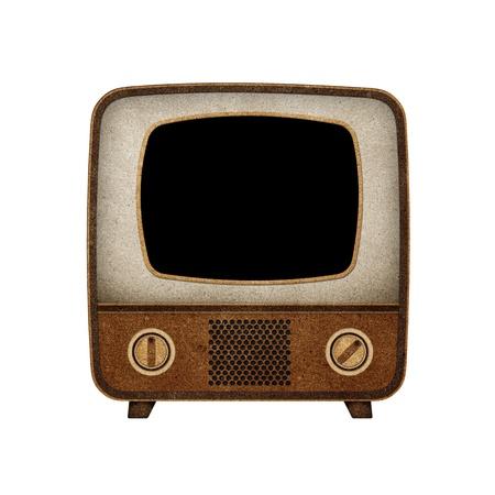electronic elements: TV (TV) schermo vuoto icona riciclato carta bastone su sfondo bianco