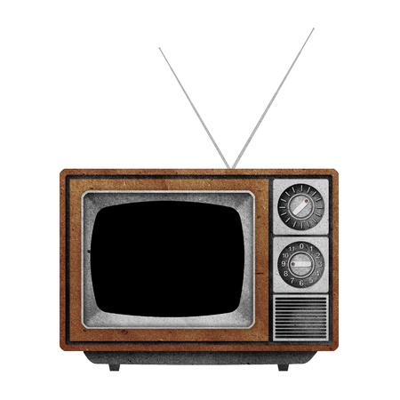Television ( TV )  Blank screen icon recycled paper stick on white background Stock Photo - 10275379