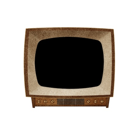 Television ( TV )  Blank screen icon recycled paper stick on white background Stock Photo - 10275376
