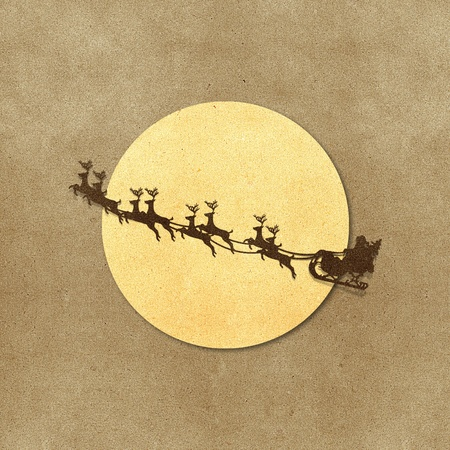 Santa Claus On Sledge With Deer And Moon  recycled papercraft Stock Photo - 10338099