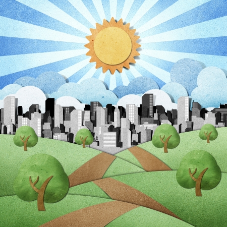 road to the city recycled papercraft background  Stock Photo - 10362178