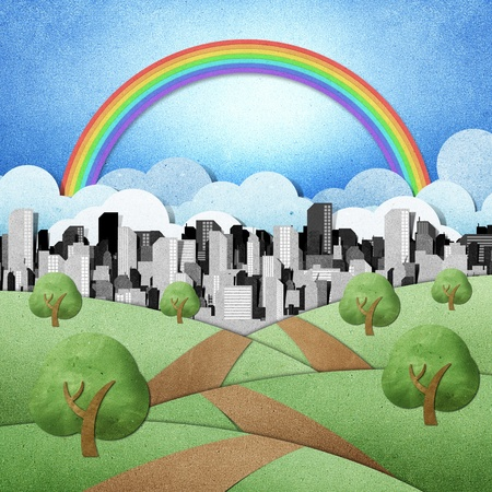 road to the city recycled papercraft background  Stock Photo - 10362182